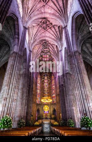 Majestic interior of the Expiatorio Temple in Guadalajara, Jalisco, Mexico. - Stock Photo