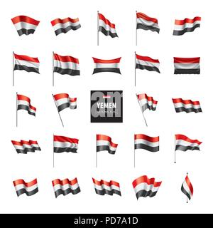 Yemeni flag, vector illustration - Stock Photo