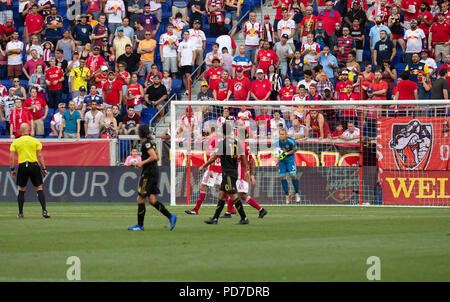 Harrison, United States. 05th Aug, 2018. Goalkeeper Luis Robles (31) of Red Bulls saves during regular MLS game against LAFC at Red Bull Arena Red Bulls won 2 - 1 Credit: Lev Radin/Pacific Press/Alamy Live News - Stock Photo