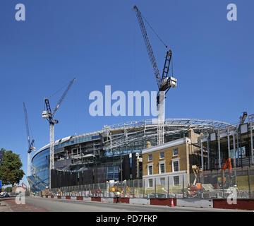Construction of England premier league team Tottenham Hotspur's new 62,000 seat stadium at White Hart Lane, London. Nearing completion (Aug 2018).