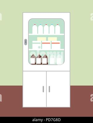 White cabinet for medicines intended for first aid with the door closed, with glasses, boxes and bottles on brown floor green wall on background - vec - Stock Photo