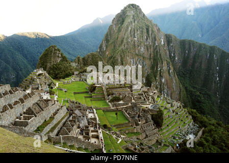 Close up shot of Machu Picchu (UNESCO World Heritage Site) during the early morning. Aguas Calientes, Peru. Jul 2018 - Stock Photo
