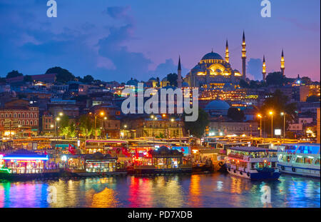 Old town of Istanbul - Fatih district and The Süleymaniye Mosque, Turkey - Stock Photo