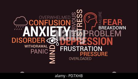 Anxiety, panic and depression tag cloud with words, concepts and icons - Stock Photo