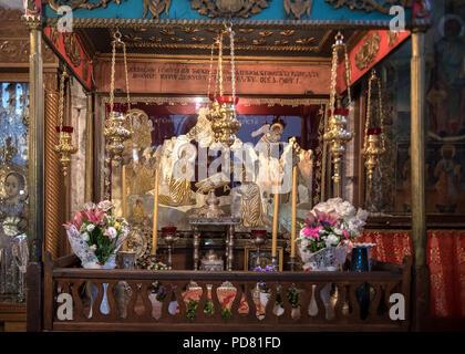 Bethlehem May 20  2018: Orthodox shrine ofthe Nativity, depicting the nativity, above the Grotto  of the Nativity, the possible birthplace of Jesus, i - Stock Photo