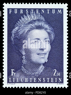 Liechtenstein postage stamp (1971): Princess Gina - Georgine von Wilczek (Georgine Norberte Johanna Franziska Antonie Marie Raphaela; 1921 – 1989) - Stock Photo