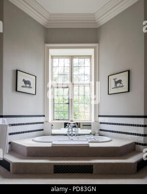 Luxury Master Bathroom With Step Up Tub And Black And White ...