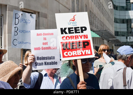 BBC Headquarters, London, UK. 7th August 2018. Various groups including Jewish Voice for Labour protest outside the BBC to demonstrate about biased news coverage against Jeremy Corbyn. and the Labour party. Credit: Matthew Chattle/Alamy Live News - Stock Photo