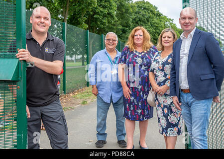 Warrington, UK. 7th August, 2018. Warrington, UK. 07 August 2018 - The first day of the Victoria Park Experience. VPX is in its eleventh year and is held in Victoria Park, Latchford, Warrington, Cheshire every year. Every Tuesday in August the gates open to a vast variety of children's entertainment which is all free Credit: John Hopkins/Alamy Live News Credit: John Hopkins/Alamy Live News - Stock Photo