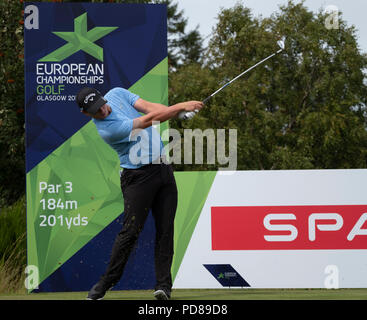Gleneagles, Scotland, UK; 7 August, 2018.  Practice day at Gleneagles for the European Championships 2018. Pictured; Callum Shinkwin on the tee. Credit: Iain Masterton/Alamy Live News - Stock Photo