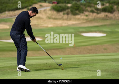 Gleneagles, Scotland, UK; 7 August, 2018.  Practice day at Gleneagles for the European Championships 2018. Lee Slattery approach shot Credit: Iain Masterton/Alamy Live News - Stock Photo