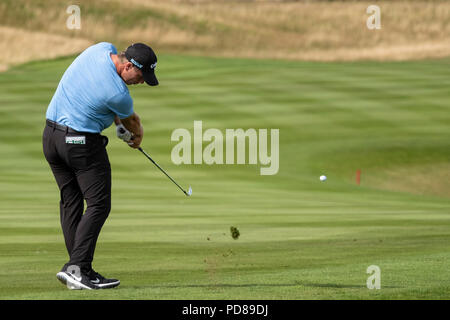 Gleneagles, Scotland, UK; 7 August, 2018.  Practice day at Gleneagles for the European Championships 2018. Callum Shinkwin approach shot Credit: Iain Masterton/Alamy Live News - Stock Photo
