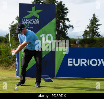 Gleneagles, Scotland, UK; 7 August, 2018.  Practice day at Gleneagles for the European Championships 2018. Callum Shinkwin the shot at the 10th Credit: Iain Masterton/Alamy Live News - Stock Photo