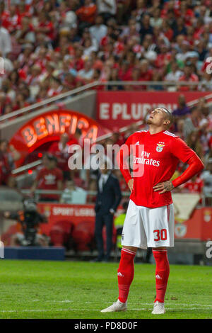 Lisbon, Portugal. August 07, 2018. Lisbon, Portugal. Benfica's forward from Chile Nicolas Castillo (30) during the game of the 1st leg of the Third Qualifying Round of the UEFA Champions League, SL Benfica vs Fenerbahce SK © Alexandre de Sousa/Alamy Live News - Stock Photo