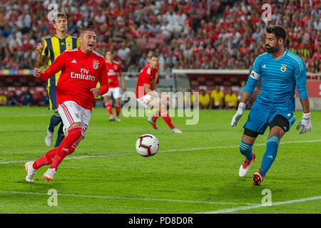 Lisbon, Portugal. August 07, 2018. Lisbon, Portugal. Benfica's forward from Chile Nicolas Castillo (30) and Fenerbahce's goalkeeper from Turkey Volkan Demirel (1) during the game of the 1st leg of the Third Qualifying Round of the UEFA Champions League, SL Benfica vs Fenerbahce SK © Alexandre de Sousa/Alamy Live News - Stock Photo