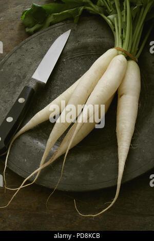 preparing fresh white raddish - Stock Photo