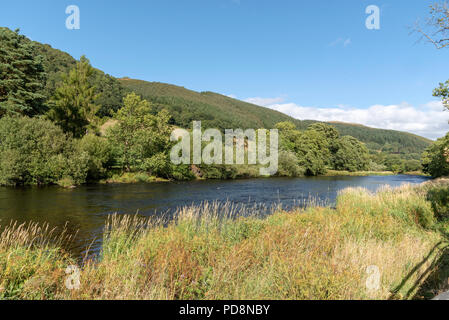 The River Dee flowing through the Vale of Llangollen, Denbighshire, North Wales, UK - Stock Photo