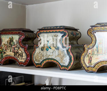 Three Huntley & Palmer oriental-style antique biscuit tins - Stock Photo