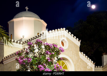 Agios Mamas church on the waterfront of  Spetses town. Situated near  between the new and old ports of the main town on the island. - Stock Photo