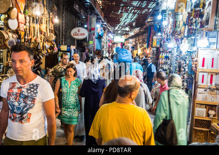 Marrakesh, Morocco - July 25th 2018 : view of a crowded craft market in medina - Stock Photo