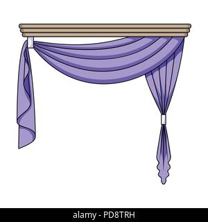 Curtains with drapery on the cornice.Curtains single icon in cartoon style vector symbol stock illustration . - Stock Photo
