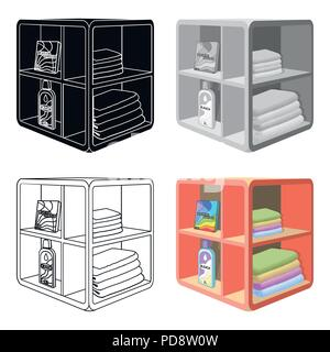 A rack in the bathroom for laundry and detergents. Furniture single icon in cartoon style Isometric vector symbol stock illustration . - Stock Photo
