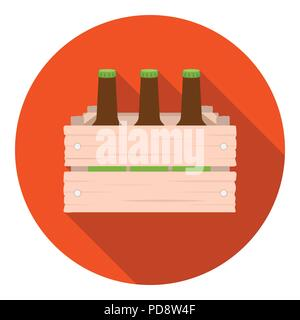 Box with beer icon in flat style isolated on white background. Oktoberfest symbol vector illustration. - Stock Photo