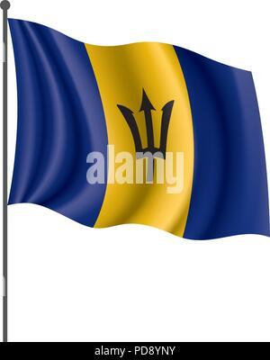 Barbados flag, vector illustration - Stock Photo