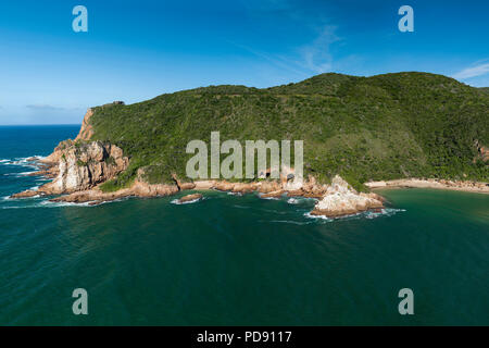 View of one side of 'The Heads', the entrance to the Knysna Lagoon on the Garden Route in South Africa.