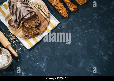 Fresh homemade bread making - Stock Photo