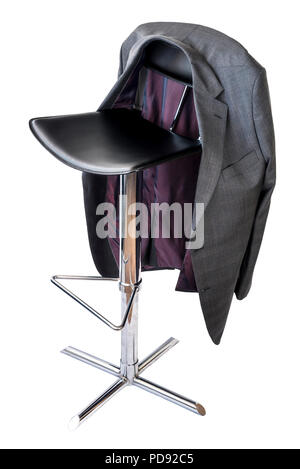 Black leather and chrome bar stool on a white background, with a mans suit jacket hanging on the back. - Stock Photo