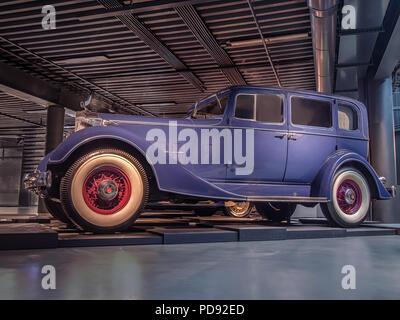 RIGA, LATVIA-APRIL 18, 2018: 1934 Packard Eight Model 1100 in the Riga Motor Museum. - Stock Photo
