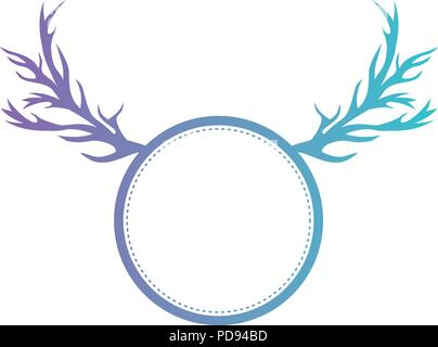 circle with horns reindeer - Stock Photo