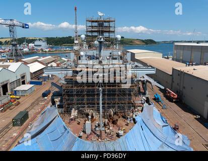 ship in dry dock at pendennis shipyard, falmouth, cornwall, england, britain, uk. - Stock Photo