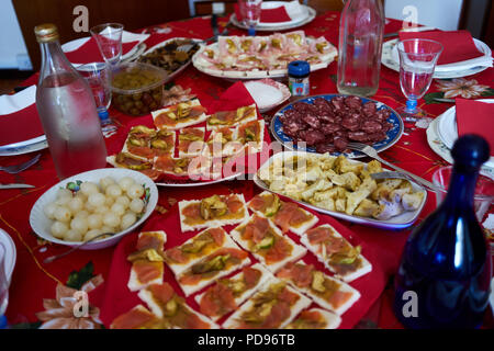 Close up view of a Christmas dinner table - Stock Photo