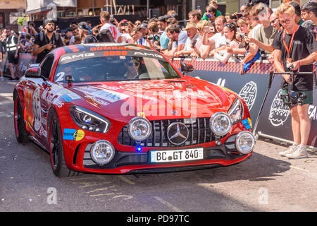 Covent Garden, London, UK.  05/08/2018.  Mercedes Benz GT RS 840 leaves at the start of the 2018 Gumballl 3000 rally. - Stock Photo