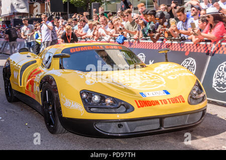 Covent Garden, London, UK.  05/08/2018.  A unique EC OnlyOne P8 Prototipo leaves at the start of the 2018 Gumballl 3000 rally. - Stock Photo