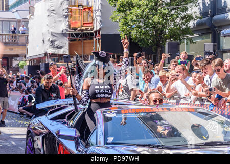 Covent Garden, London, UK.  05/08/2018.  Divina DelaCruz from @TeamSalamone gets into the party spirit as she and Brian Salamone start the 2018 Gumball 3000 rally. - Stock Photo