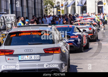 Covent Garden, London, UK.  05/08/2018.  Supercars, hypercars, and ordinary cars belonging to the rich and famous line up at the start of the 2018 Gumballl 3000 rally. - Stock Photo