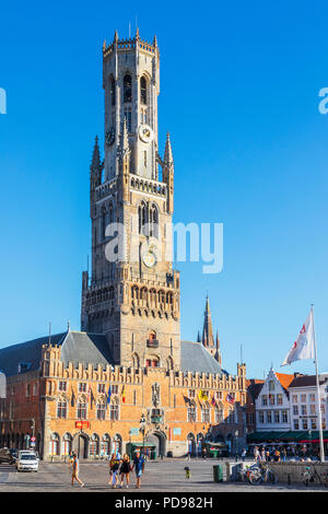 Iconic Belfry of Bruges, 83 metre high (272ft) in Place de Bruges, Bruges, Belgium. the belfry formerly housed the treasury and market - Stock Photo