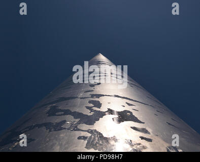 The Spire the landmark of Dublin was photographed under blue sky from the bottom up - Stock Photo