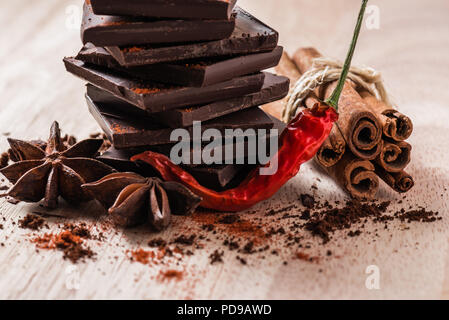 Dry Cayenne Pepper with Chocolate, Star Anise and Cinnamon Stick. - Stock Photo