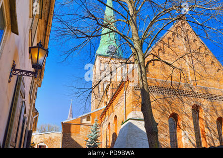 St. James Cathedral the fourth largest church in Riga, the main Catholic church in Latvia, the cathedral of the Riga Archdiocese. - Stock Photo