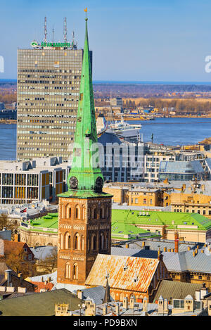 Riga, Latvia - April 13, 2018: St. James Cathedral the fourth largest church in Riga, the main Catholic church in Latvia, the cathedral of the Riga Ar - Stock Photo