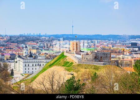 View of Vilnius from the hill of Three Crosses point of view to the  Vilnius City. Lithuania. - Stock Photo