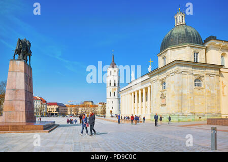 Vilnius, Lithuania - June 17, 2015:  St. Stanislaus Cathedral on Cathedral Square with Monument to Grand Duke Gediminas in the historic part of the ol - Stock Photo