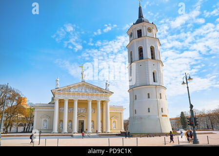 Vilnius, Lithuania - April 12, 2018: St. Stanislaus Cathedral on Cathedral Square with Monument to Grand Duke Gediminas in the historic part of the ol - Stock Photo