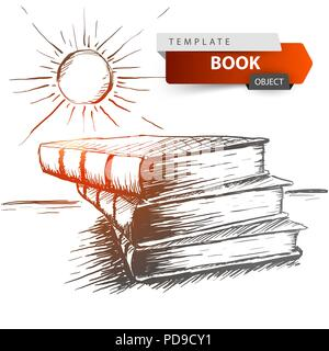 Book and sun - grey sketch illustration. Education idea. - Stock Photo