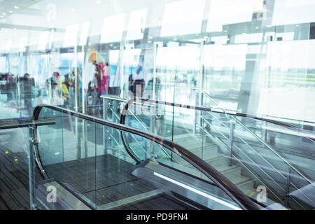 Modern building with transparent walls. Airport terminal. - Stock Photo