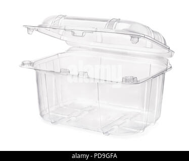 Empty transparent plastic food container isolated on white - Stock Photo